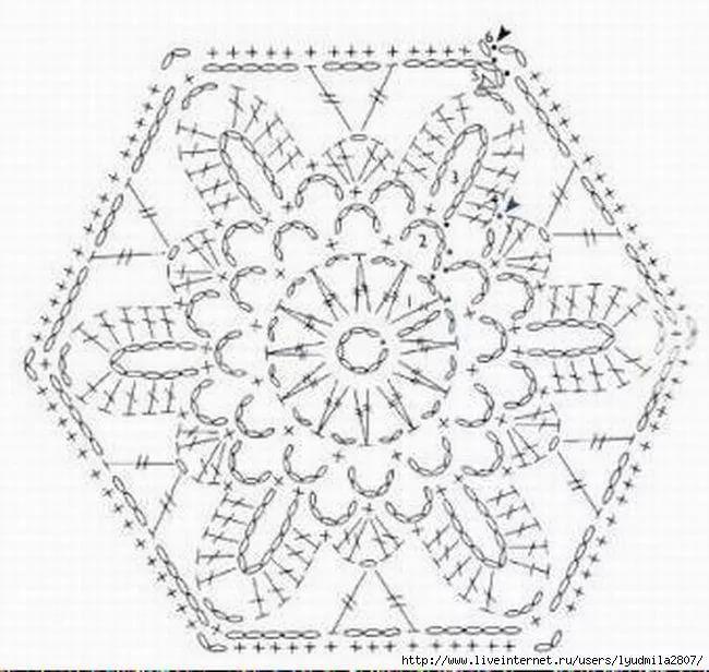 Шестиугольные мотивы крючком со схемами фото 919