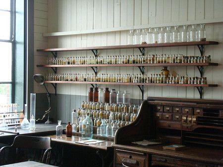 Thomas Edison's Lab apothecary, shelves, turn of the century
