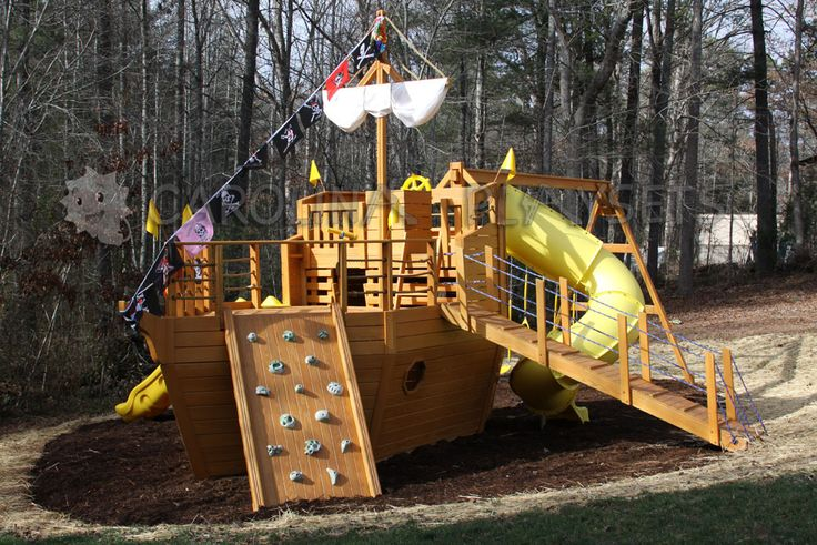 Pirate ship playhouse kit woodworking projects plans for Boat playhouse plans