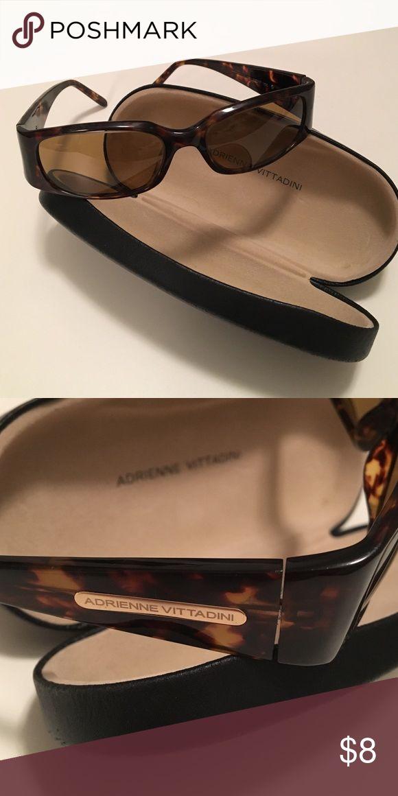Adrienne Vittadini Tortoise Shell Sunglasses Cute sunglasses! Worn condition, in good shape. Case included. Adrienne Vittadini Accessories Sunglasses