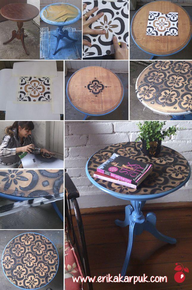 Mesa com estêncil by Erika Karpuk