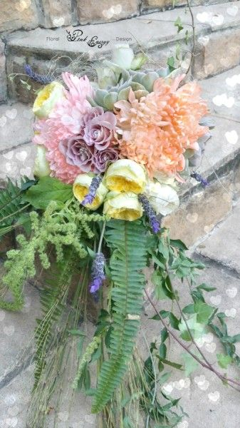 Forest inspired cascading bridal bouquet in pastel colours - stem finished off with hessian and lace. Floral Design  by www.pinkenergyfloraldesign.co.za