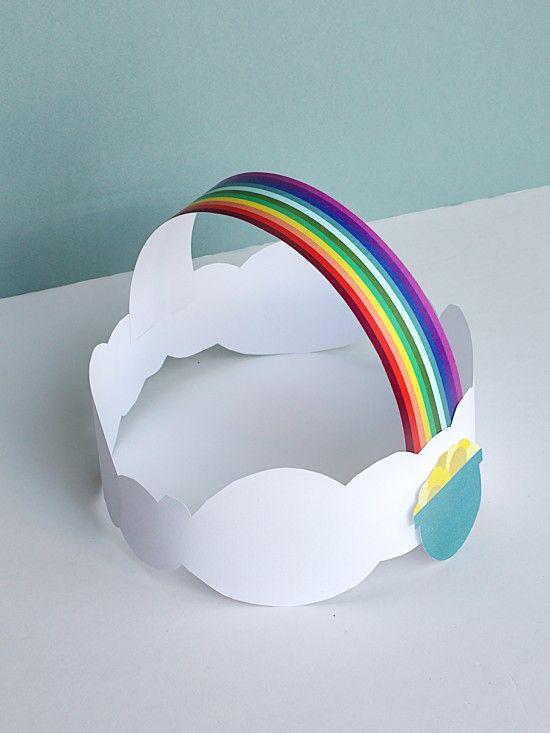 Rainbow Clouds Crown Hat - St. Patrick's Day Craft - DIY Printable for Kids | Small for Big