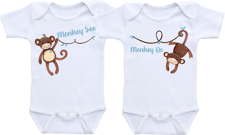 Monkey See Monkey Do - Twin Bodysuit Twin Outfit Sets Gender Neutral Baby Clothes (6M Long Sleeve Bodysuit Set)