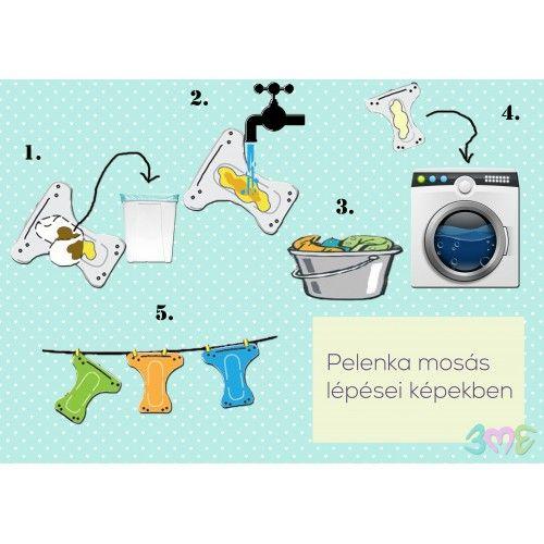 Pelenka mosás fázisai