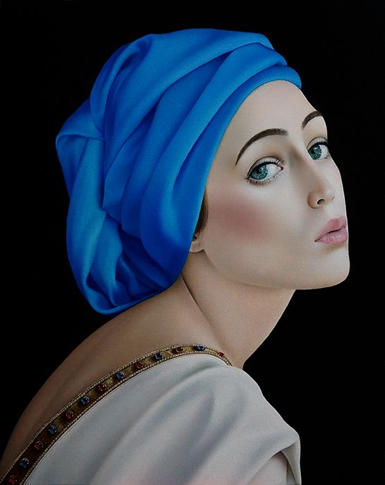 "Slava Fokk ""Girl in Blue"" 40x50cm oil on canvas 2015"