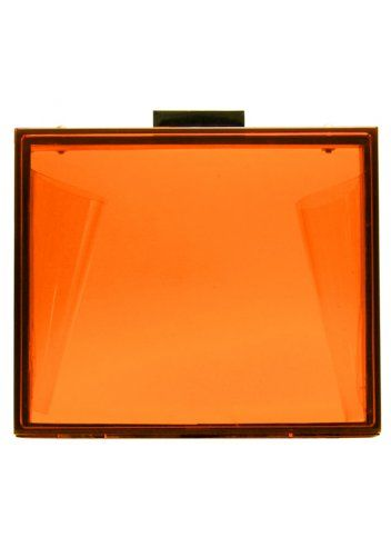 LYDC London Neon Orange Clutch Bag Orange Box Clutch Evening Bag