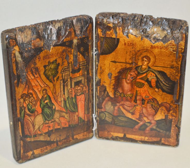 Orthodox Icon Handpainted Greek Byzantine St.Dimitrios & Enter to Jerusalem