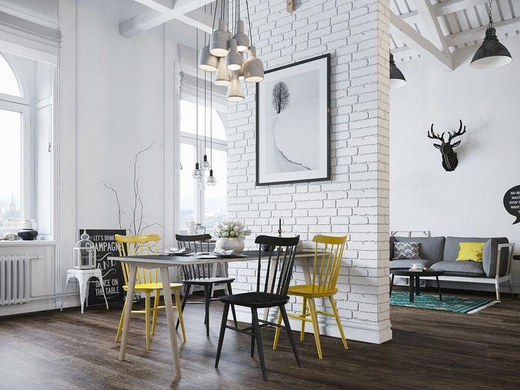 Gravity Interior   Loft in Scandinavian style via Behance