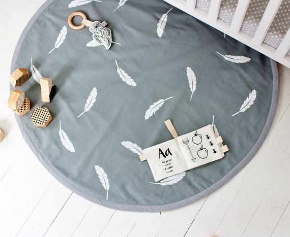 White Feathers on Grey Hand Printed Padded Play Mat / Nursery Floor Rug / Organic