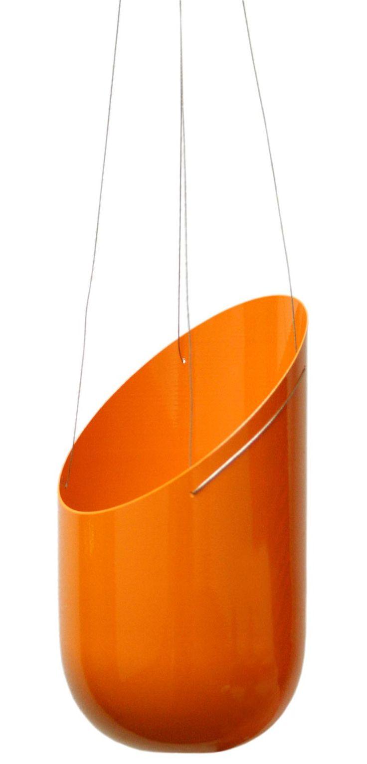 Wallter Outdoor Hanging Planter in brilliant orange at 2Modern