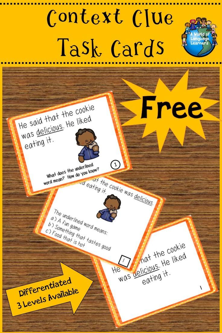 Free context clue task cards. Simple sentences that give clues to the meaning of a focus word. With and without pictures. Great practice for ELL learners. #contextclues #taskcards #esol #esl #vocabulary #free #tpt