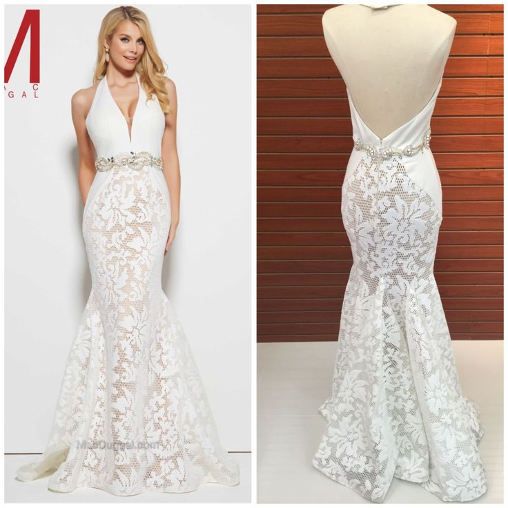 NWT MAC DUGGAL 65411M MARMAID IVORY/NUDE  HALTER LACE GOWN $599 AUTENTIC $299