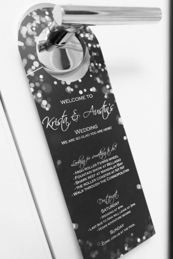 DIY Door Hangers and Wedding Weekend Event Listings at Krista and Austin's Modern MGM Grand Skyline Terrace Suite Wedding from Tyler Freear Photography // Featured on Little Vegas Wedding