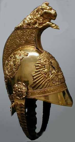 Use lion arch form for the motorcycle front?  Inniskilling Dragoon's helmet