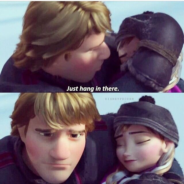 His face in the second picture.... heart broken and the only thing he wishes is for her to survive and live even though it breaks his heart that he has to bring her back to Hans when he wishes he could save her himself