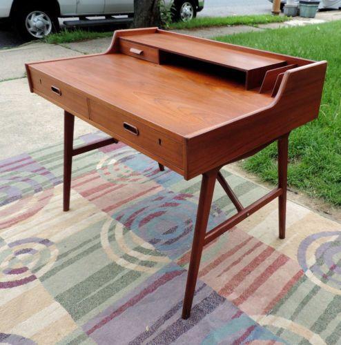 Teak Desk Arne Wahl Iversen by Vinde Mobelfabrik Mid Century Danish Modern | eBay