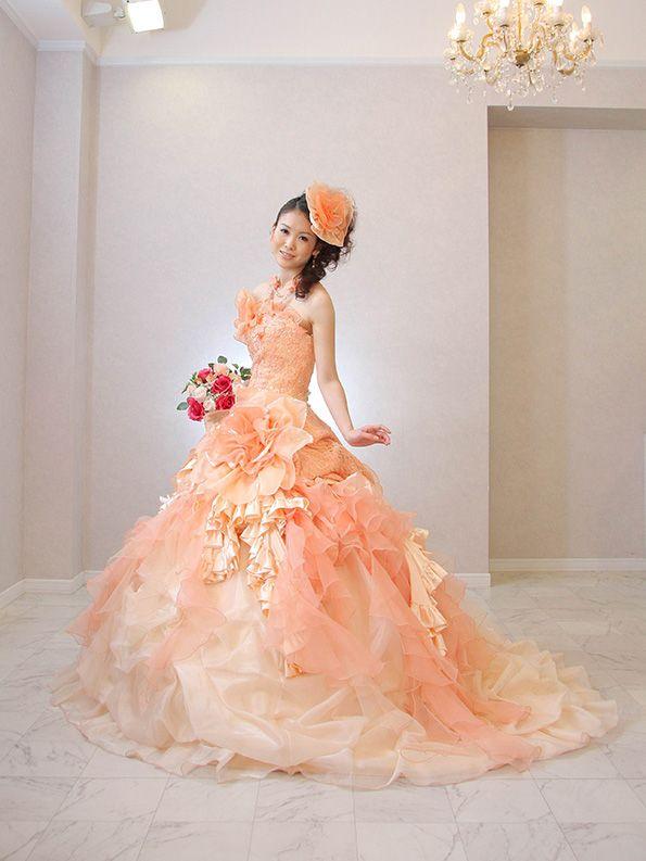 パッと明るい印象に♡オーガンジーのカラードレス一覧♡