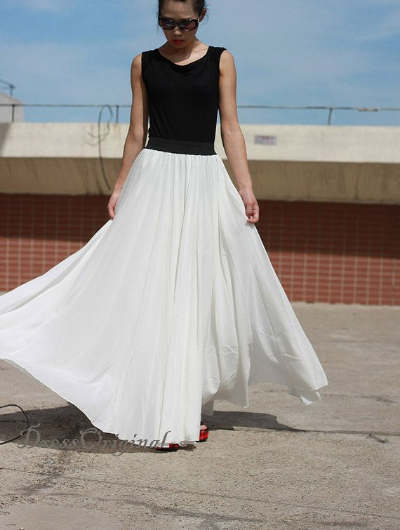 white Maxi skirt,  floor-length skirt, Double layered chiffon skirt, long summer skirt, draping skirts