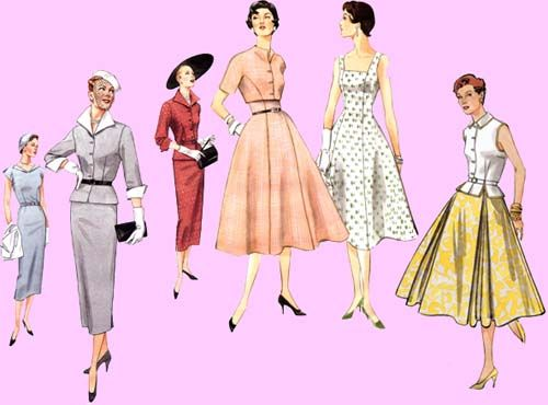 Wide and narrow skirts with slim waists ... and great hats.