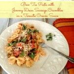 Bow Tie Pasta with Jimmy Dean Sausage Crumbles in a Tomato Cream Sauce #JDCrumbles #spon