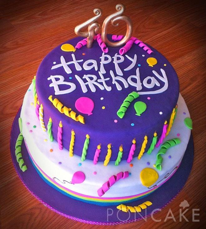 Purple Birthday Cake - Torta de Cumpleaños Púrpura