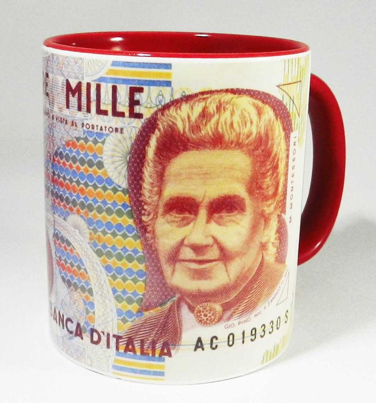 1,000 Italian Lira Bank Note Mug with red glazed handle and inner. Issued in 1990. The front of the note features Maria Montessori who founded the self named education system. The Italian Lira was replaced by the Euro in 2002 . A high quality ceramic mug with a Red glazed handle and inner. Dishwasher proof. Height is 9.5cm, diameter 8.2cm, with a capacity of 310 ml . www.halfadonkey.co.uk