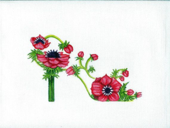 ... flower slipper, shoe, decoration, pattern, anemone flower, embroidery