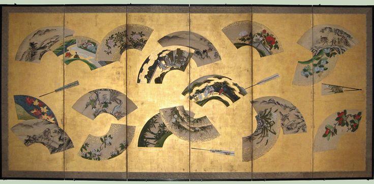 Midori Gallery (FL) - Floating Fans Screen - Kano School, c. 1780