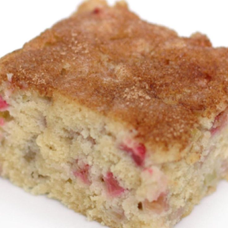 I got this great recipe from my mother-in-law who's been making it for years! It doesn't have a strong rhubarb taste. It's sweet and moist. I hope you enjoy making it as much as I do. I always try to use fresh rhubarb, never frozen and then thawed because it doesn't work well.