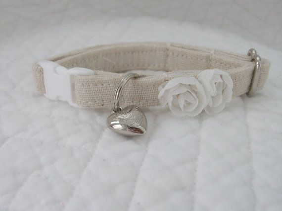Shabby Chic  Cat Collar with bell   Wedding Cat  Breakaway Collar Custom Made on Etsy, $11.50