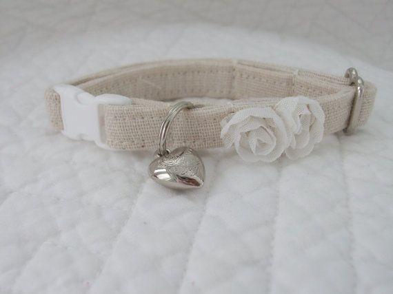 Shabby Chic  Cat Collar with bell   Wedding Cat  Breakaway Collar Custom Made