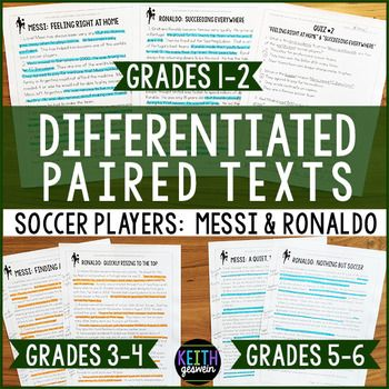 Differentiated paired texts about famous soccer players for students reading on grade levels 1-6.  These engaging informational texts are written  on different grade levels so you can meet the needs of many students.  Quizzes and writing prompts are included, too.