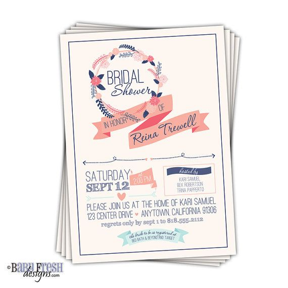 Hey, I found this really awesome Etsy listing at https://www.etsy.com/listing/200754054/navy-and-coral-bridal-shower-invitations
