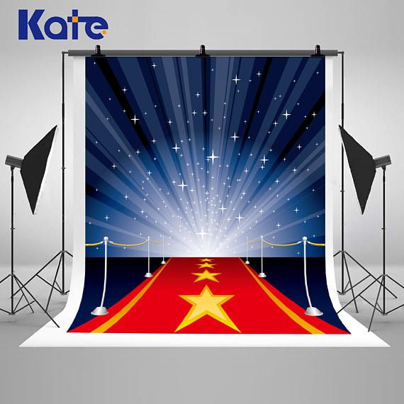 Magic Red Carpet and Stars Blue Light Photography Backdrops No