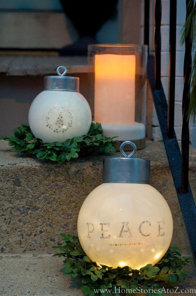 DIY oversized ornaments tutorial. DIY holiday decor, holiday decoration, holiday porch decor, Christmas decor, winter decor