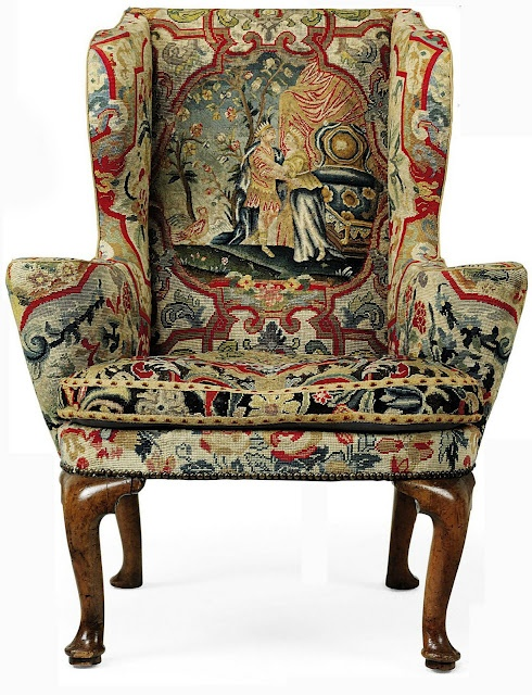 Gorgeous George I walnut wing armchair with incredibly intricate needlepoint work.