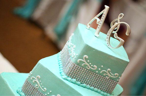 Our Aqua Wedding Cake; Tiffany blue wedding cake