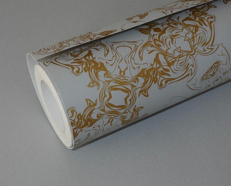 Detail - metallic gold & dove grey wallpaper