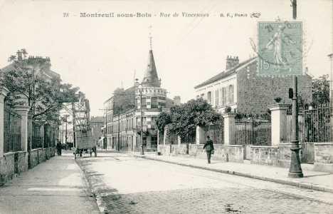 Montreuil-sous-bois, la rue de Vincennes, vue sur la maison à tourelle.