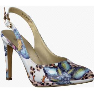 Witte dames pumps met een mooie bloemenprint. Op www.shopwiki.nl #pumps #schoenen