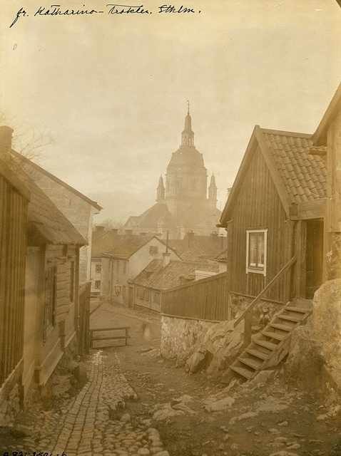 Stockholm, Södermanland, Sweden View towards Katarina church from Stigbergsgatan street in the southern part of Stockholm city. 1880.