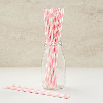 Our Pink Striped Paper Straws feature a trendy pink stripe design imprinted on these white straws.