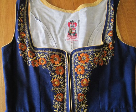 Beautiful!  Salzburger DIRNDL Dress Made in Austria, 100% Baumwolle Blue dress with gold and rust colored floral embroidery on bodice and skirt, piping details on back of bodice as well as around arms and bodice front edges, one pocket