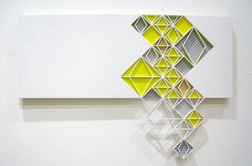 This Time Things Will Be Different by Sandra Fettingis: Repeating patterns and flourescents with wood and paper.