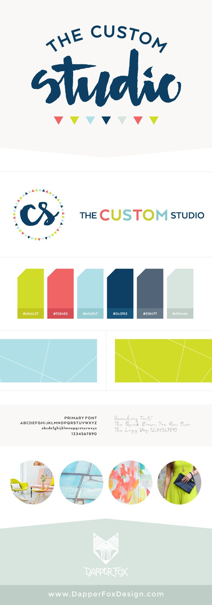 The Custom Studio Brand and Logo Board by Dapper Fox Design - Bright, Modern, Feminine, Lime Green, Navy, Coral Pink Color Palette with Hand Lettered Script Brush Font