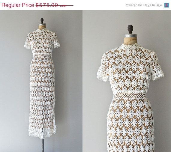 SALE 20% OFF Dreamweaver wedding dress • vintage 1970s crochet dress • cotton crochet 70s dress
