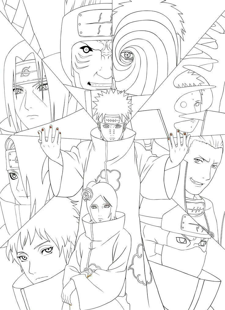 Akatsuki Team Desenhos Para Colorir Naruto Desenhos De Anime