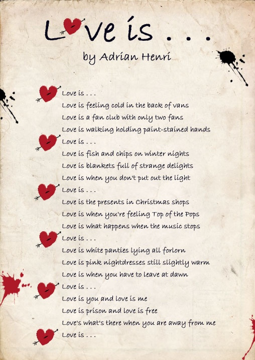 Love Is By Adrian Henri Valentines Day Pinterest