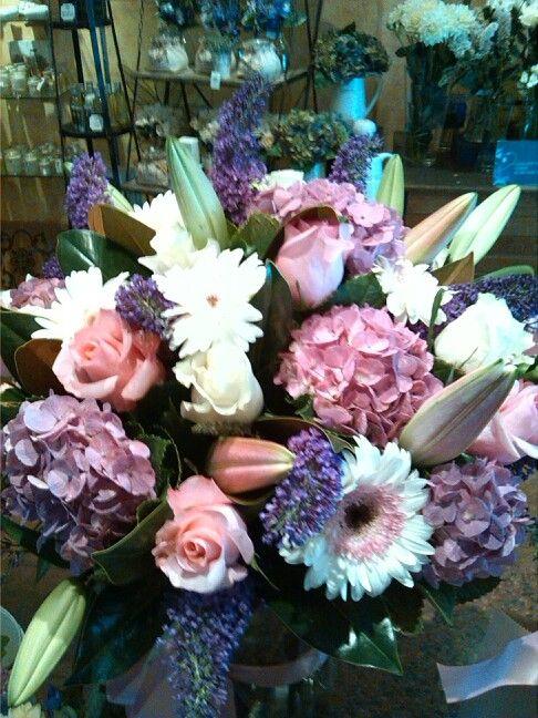 Beautiful bouquet of oriental lillies, roses,hydrangea, buddleia and gerberas